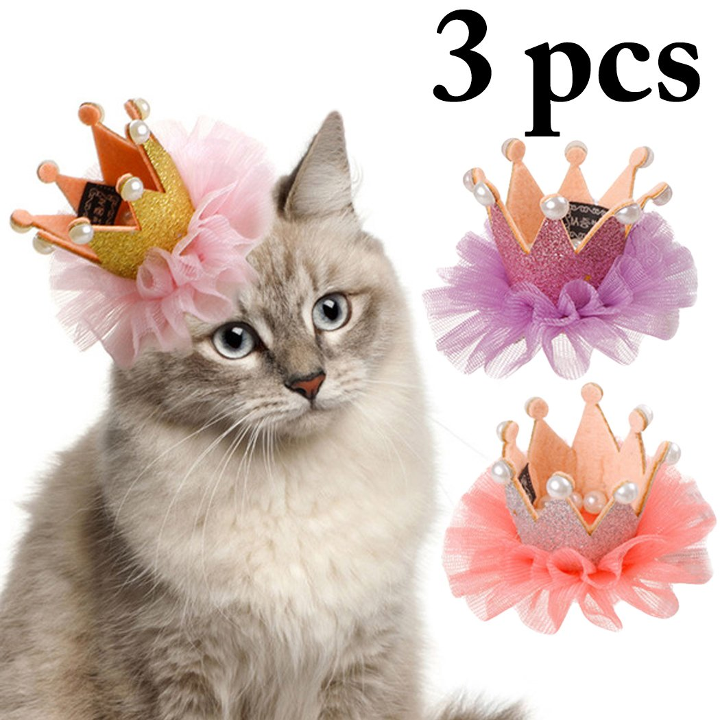 Dog Hair Clip, Legendog Dog Hairpin Lace Pearl Crown Dog Headdress Pet Hair Accessories for Dog Cat