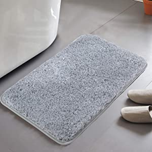 HAOCOO Shaggy Bathroom Rugs Non-Slip Bath Mat Water Absorbent Soft Microfiber Machine Washable Thick Plush Bath Rugs for Tub Shower (17x24 inch, Light Gray)