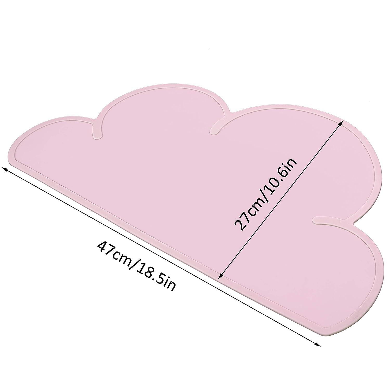 Gris HONGXIN-SHOP Salvamantel Silicona Mantel Mat Antideslizante Nube Forma Mantel Individual Estera de Tabla Lavable Mantel Plato para Beb/é y Ni/ño