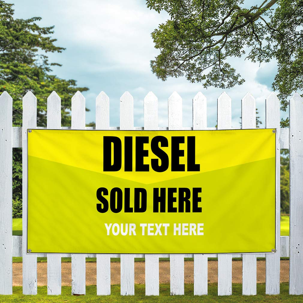 Custom Industrial Vinyl Banner Diesel Sold Here Personalized Text Yellow 4 Grommets 24x48Inches