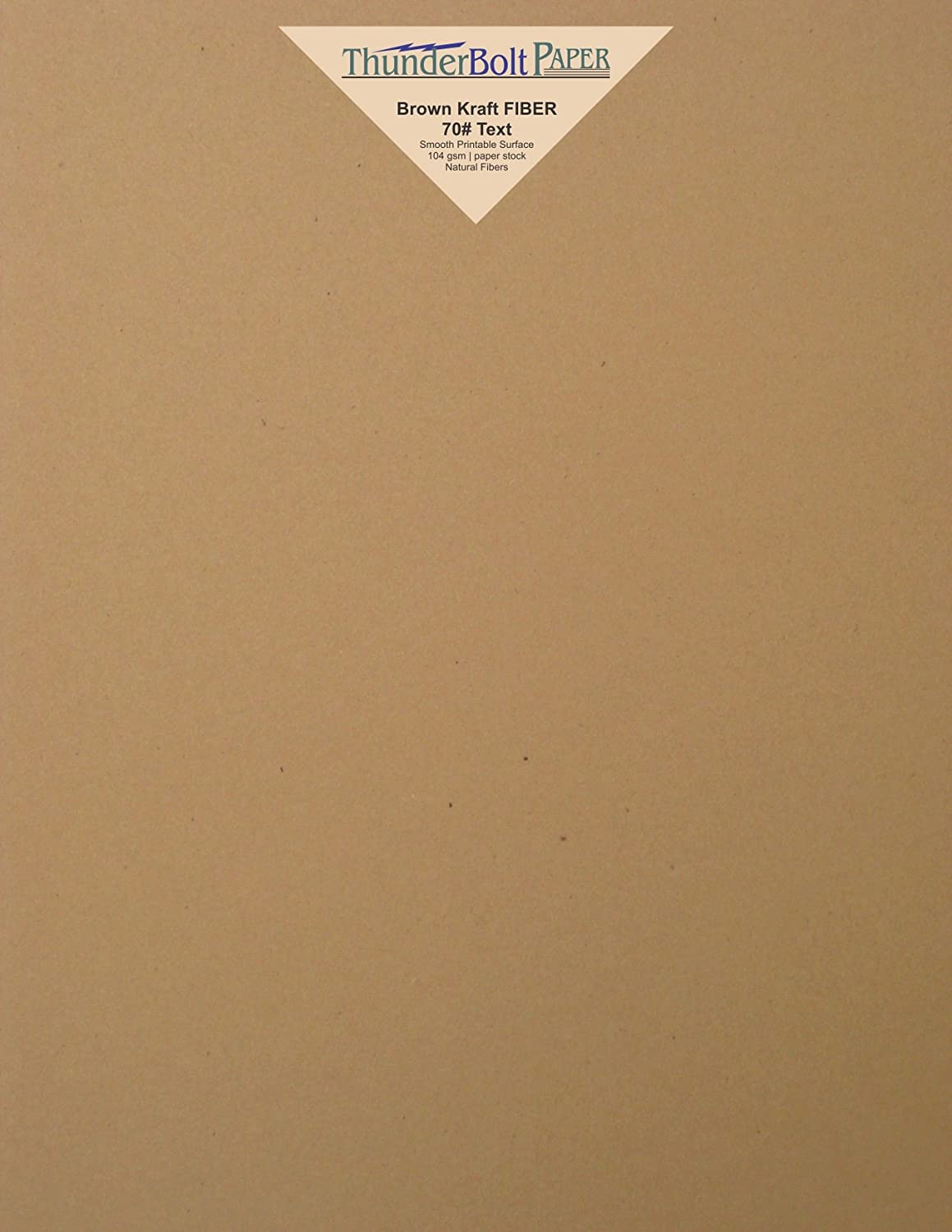 250 Brown Kraft Fiber 70# Text Paper Sheets - 8.5 X 11 (8.5X11 Inches) Standard Letter|Flyer Size - (not cardstock) Weight - Rich Earthy Color with Natural Fibers - Smooth Finish TBP fba-KRA70-8.5x11-250