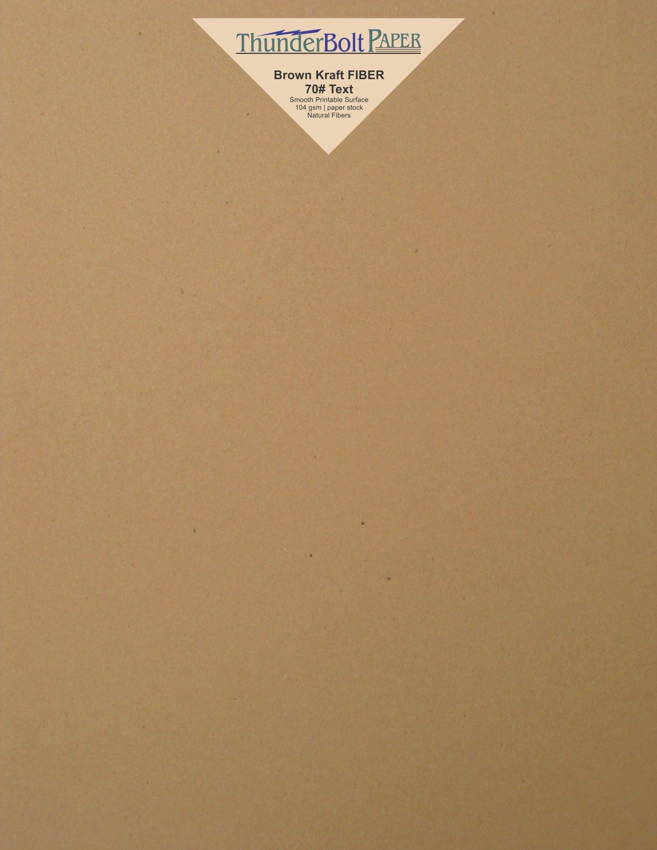 100 Brown Kraft Fiber 28/70 Pound Text (Not Card/Cover) Paper Sheets - 8.5'' X 11'' (8.5X11 Inches) Standard Letter|Flyer Size - Rich Earthy Color with Natural Fibers - Smooth Finish