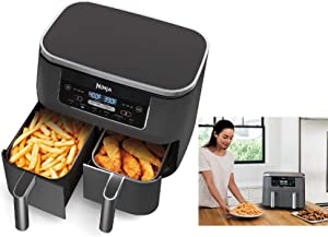 Ninja DZ201 Foodi 6-in-1 2-Basket Air Fryer with DualZone Technology, 8-Quart Capacity, and a Dark Grey Stainless Finish -- (Renewed)