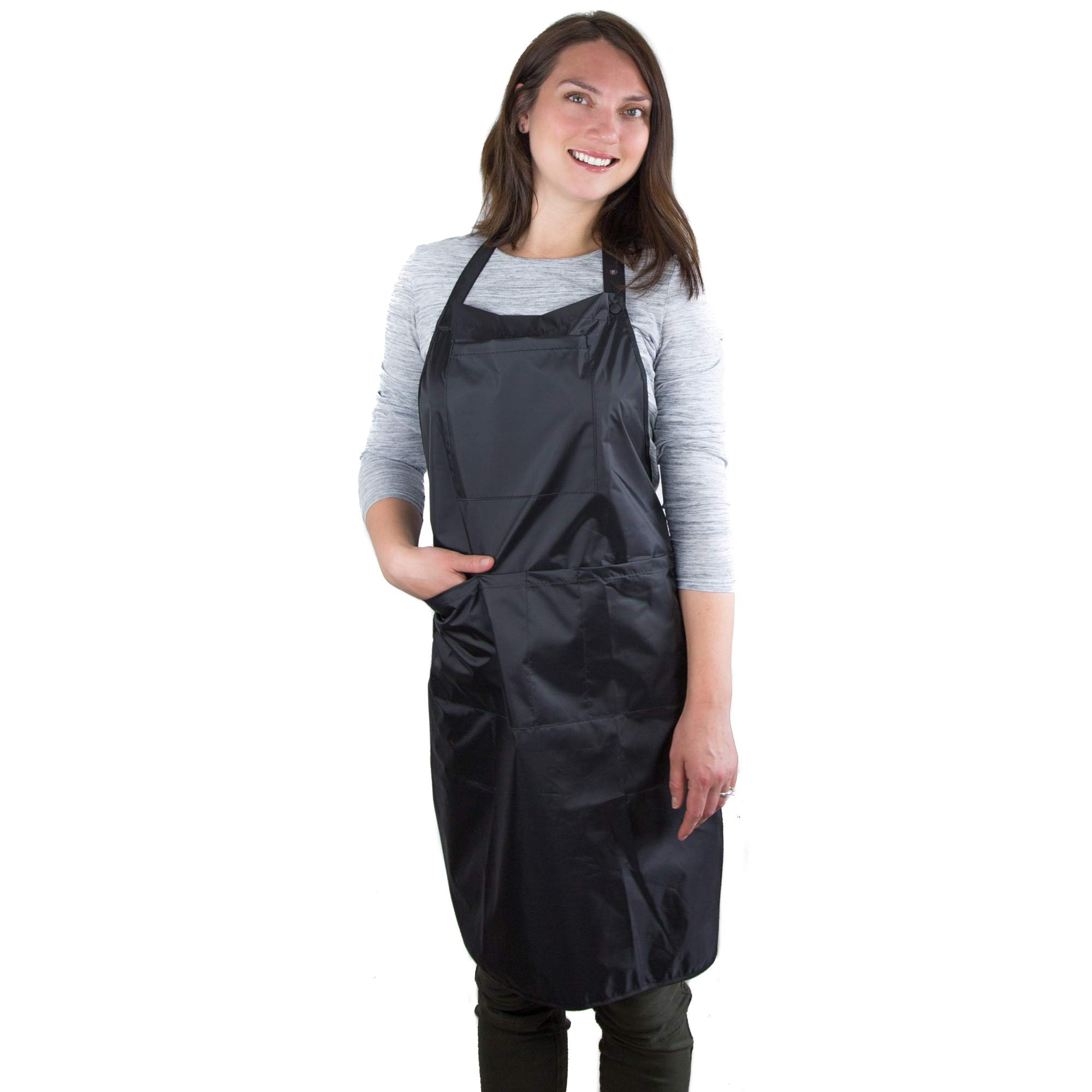 Hair Stylist Apron - Waterproof Apron - Protective PVC Coating - Cosmetology Supplies - Nail Tech Apron - Cosmetologist Apron - Dog Grooming Apron by Salon Supply Co
