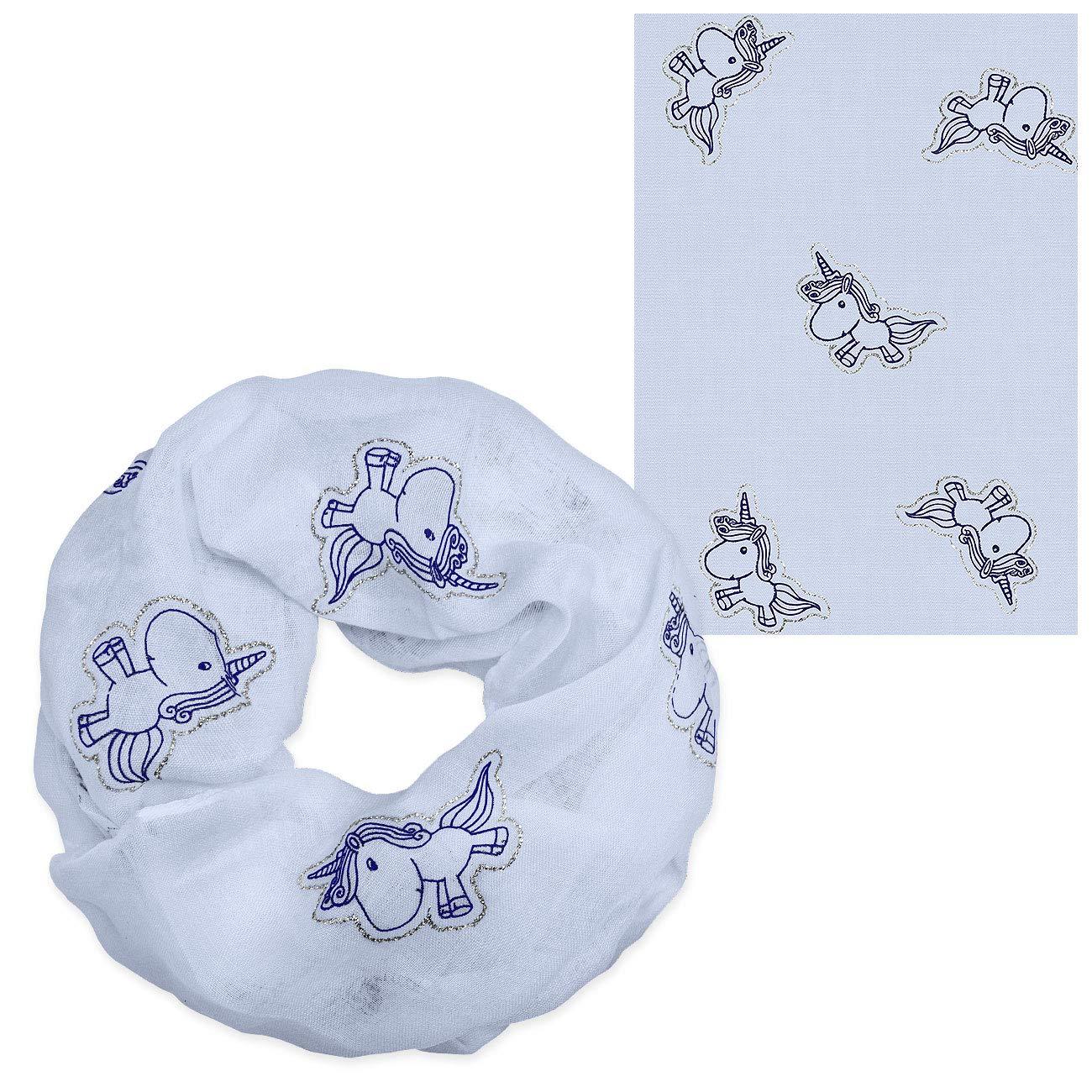 Soul-Cats/® Bambini Sciarpa Loop Unicorno Cotone Viscosa Blu Luccichio