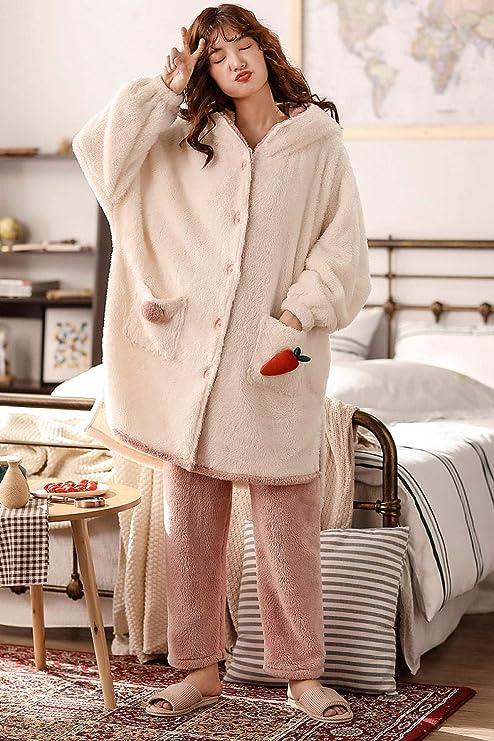 Bayrick Pijama Mujer Algodon Invierno,Lindo Conjunto de Pijamas de Terciopelo Coral otoño Invierno para Mujer más Conjunto de Pijamas de Terciopelo Grueso al Aire Libre-Código L_Conejo Blanco: Amazon.es: Hogar