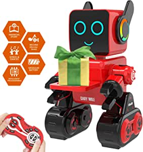Robot Toy for Kids Smart RC Robot Kit with Touch and Sound Control Robotics Intelligent Programmable Smart Robot with Walking,Dancing,Singing,Talking,Transfering Items,Good Gift for Boys Girls (Red)