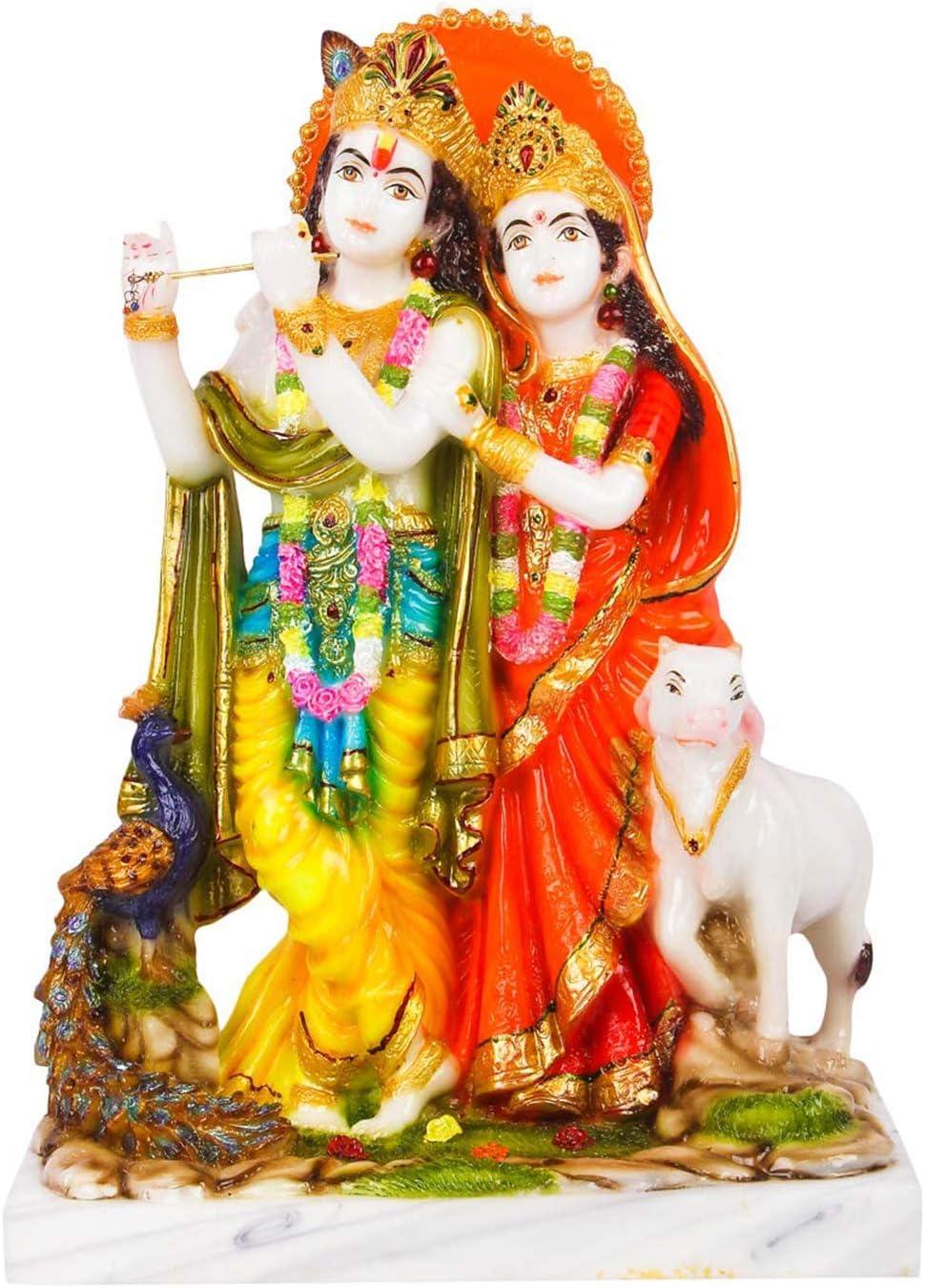 Sharvgun Radha Krishna Marble Idols murti for Pooja Room Idols Home Decor Indian Meditation Temple Mandir Puja Items
