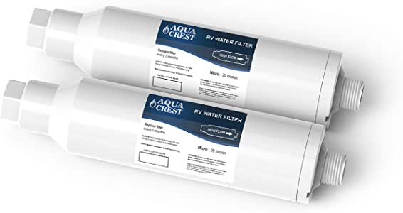 AQUA CREST RV Inline Water Filter, Reduces Lead, Fluoride, Chlorine, Bad Taste, Odor, Sediment and More, Ideal for Marines, Gardening and Planting(Pack of 2)