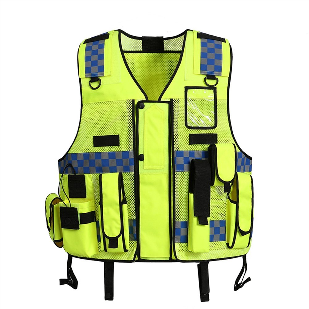 Liveinu High Visibility Vest Heavy Duty Safety Vest Breathable with Pockets High Reflective Vest for Men Neon Green style 1 2XL