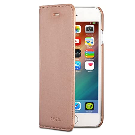 CASEZA iPhone 6 / 6s Kunstleder Flip Case Oslo Rose Gold - Ultra schlanke PU Leder Hülle Ledertasche Lederhülle für Das Origi