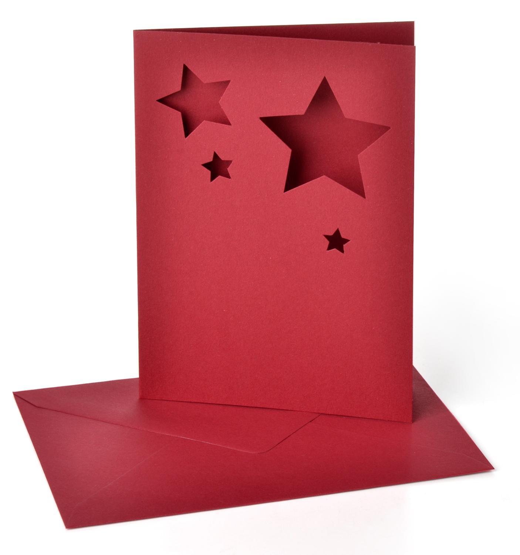 Doppelkarten Motivstanzung Sterne Dunkelrot Spielzeug
