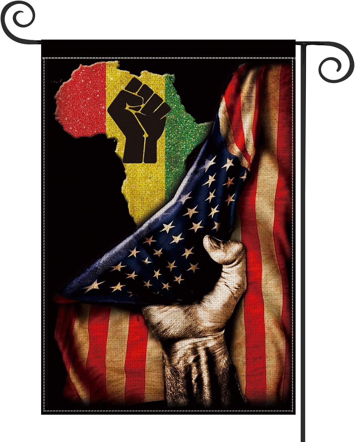 AVOIN Black Pride African American US Flag Garden Flag Vertical Double Sized, Juneteenth Independence Day Freedom Yard Outdoor Decoration 12.5 x 18 Inch