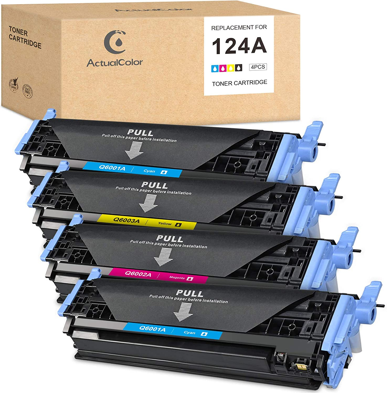 ActualColor C Remanufactured Toner Cartridge Replacement for HP 124A 124 Q6000A Q6001A Q6002A Q6003A Color LaserJet 1600 2600 2600n 2605 2605dn 2605dnt 1015 1017 (Black, Cyan, Yellow, Magenta, 4-Pack)