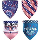 Stology 4 Packs Trump 2020 Keep America Great Pet Bandanas, President Election American Flag Dog Triangle Bibs Patriotic…