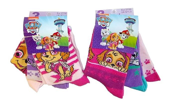 2b19a693e0b34 Nickelodeon Paw Patrol Hunde Skye und Everest Socken für Kinder, Mädchen, 6  Paar Strümpfe verschiedene Motive und den Farben rosa, pink, lila