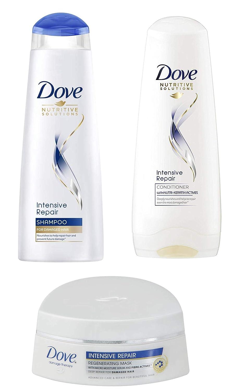 Dove Intensive Repair Bundle for Damaged Hair, Shampoo (8.5 Fl Oz / 250 mL) + Conditioner and Regenerating Mask (6.7 Fl Oz / 200 mL)