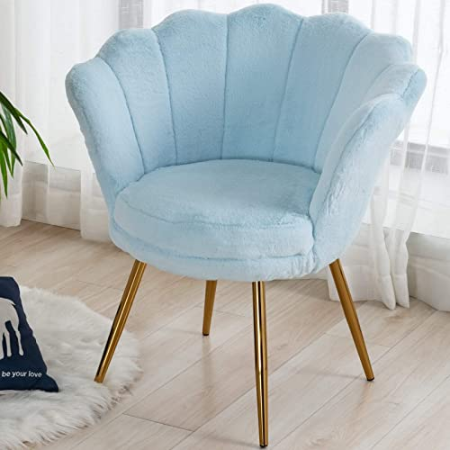 CIMOTA Blue Living Room Chairs,Furry Makeup Vanity Chair