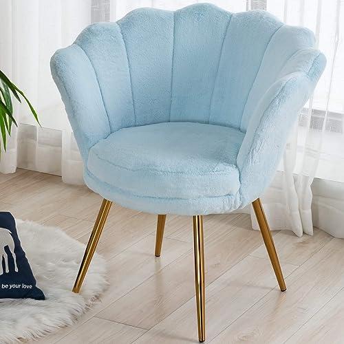 CIMOTA Blue Living Room Chairs,Furry Makeup Vanity Chair