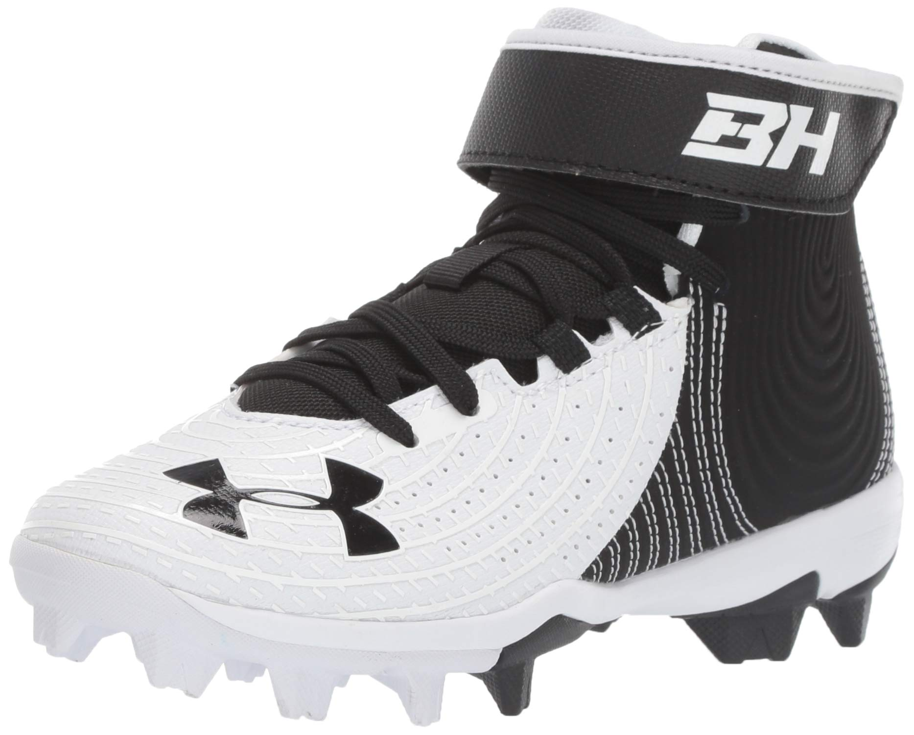 Under Armour Boys' Harper 4 Mid RM Jr. Baseball Shoe, Black (001)/White, 1.5 by Under Armour