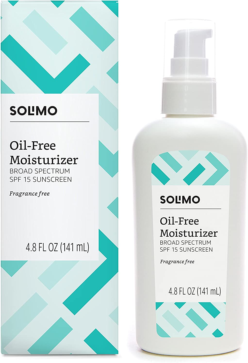 Amazon Brand - Solimo Oil-Free SPF 15 Moisturizer, Fragrance Free, Broad Spectrum Sunscreen, 4.8 Fluid Ounce