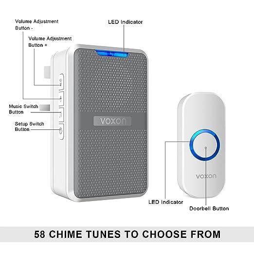 VOXON Waterproof Wall Plug-in Cordless Door Chime IP44 Kit CD Wireless Doorbell