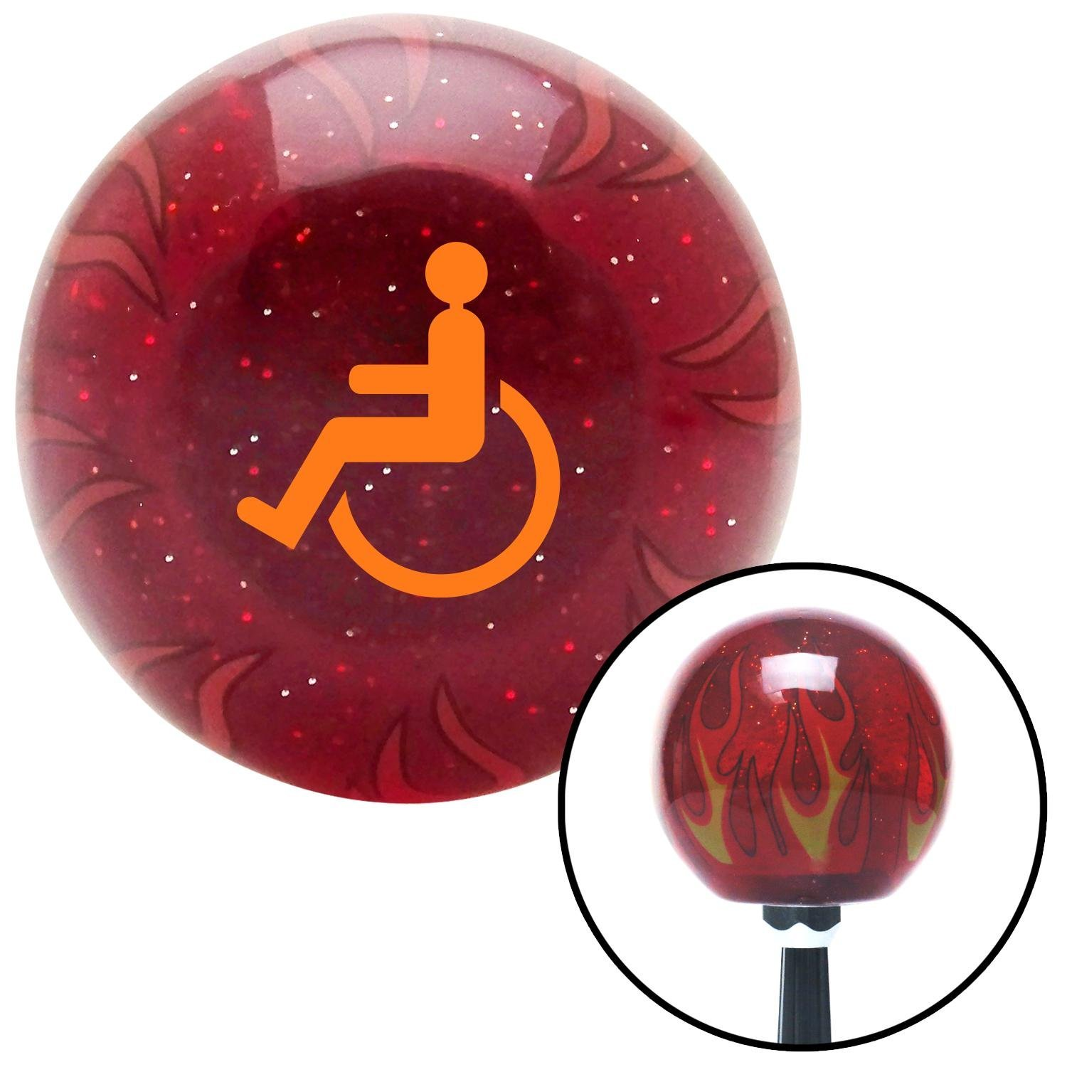 Orange Wheelchair American Shifter 239887 Red Flame Metal Flake Shift Knob with M16 x 1.5 Insert