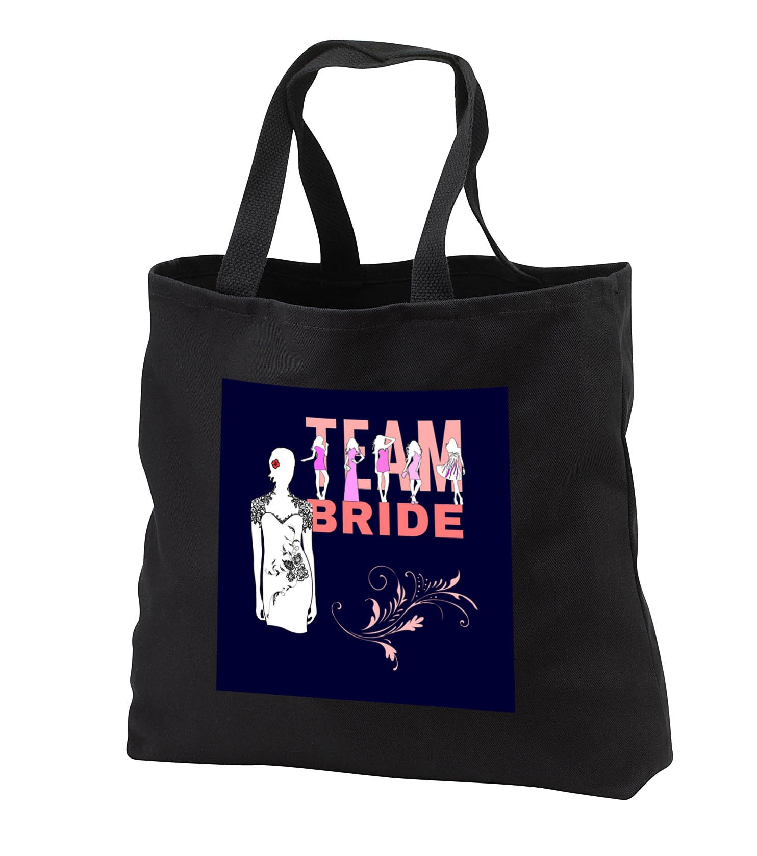 Alexis Design - Wedding - Team bride, girls in violet dresses, bride in the white dress on blue - Tote Bags - Black Tote Bag JUMBO 20w x 15h x 5d (tb_283767_3)