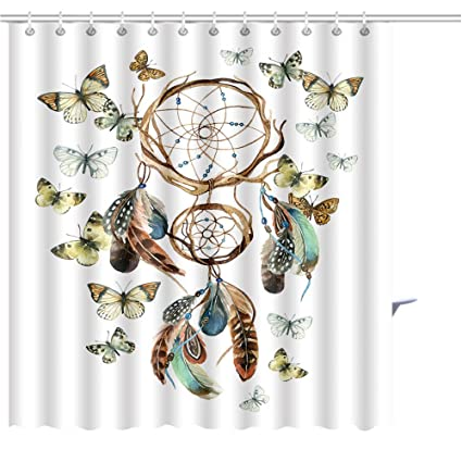 Zoyon Shower Curtain Dream Catcher With Feathers And Butterflies Watercolor Ethnic Dreamcatcher Hand Painted Graphic Print