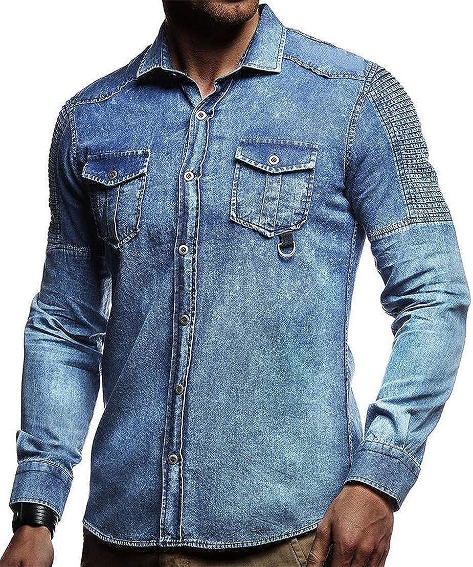 Spirio Men Pleated Wash Button Down Long Sleeve Pockets Denim Shirts