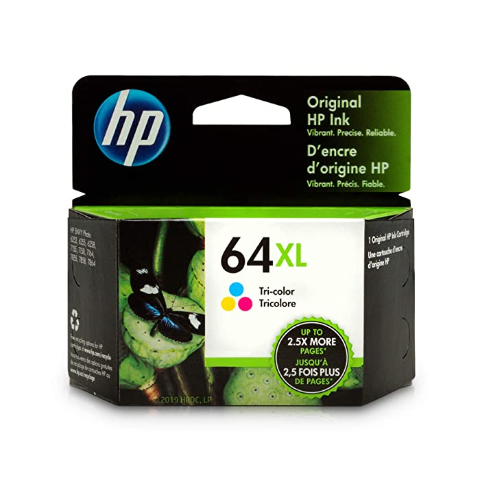 HP 64XL Tri-Color Ink Cartridge (N9J91AN) for HP ENVY Photo 6252 6255 6258 7155 7158 7164 7855 7858 7864 HP ENVY 5542