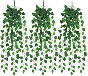 JUSTOYOU Artificial Hanging Plants Ivy Vine Fake Leaves Greeny Chain Wall Home Room Garden Wedding Garland Outside Decoration 3PCS 39.37inches(Money)