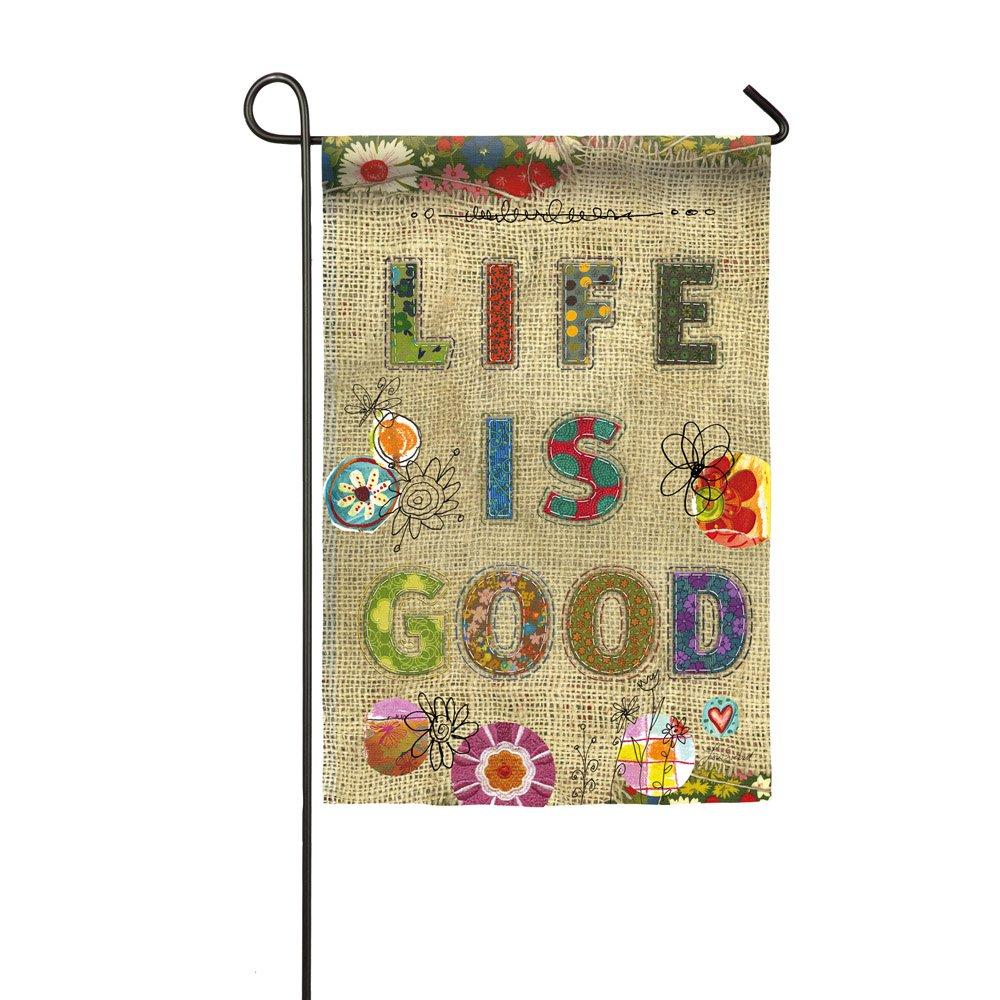 "Evergreen Life is Good Double-Sided Burlap Garden Flag - 12.5""W x 18''H"