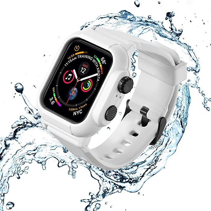 best loved 79cfd 61cee VANCHAN Compatible Waterproof Apple Watch Case 44mm Series 4, Water-Proof &  Shock-Resistant Protective Cover with Soft Silicone iwatch Band for Apple  ...