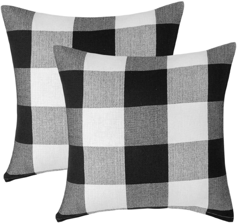 Vanky Set of 2 Retro Farmhouse Tartan Black and White Buffalo Check Plaids Cotton Linen Pastoral Decorative Throw Pillow Case Outdoor Cushion Cover Pillowcase for Sofa Bedroom 24 x 24 Inch