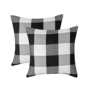 Vanky Set of 2, Retro Farmhouse Tartan Buffalo Checkers Plaid Cotton Linen Pastoral Decorative Throw Pillow Case Indoor Outdoor Cushion Cover Pillowcase for Sofa 18 x 18 inch