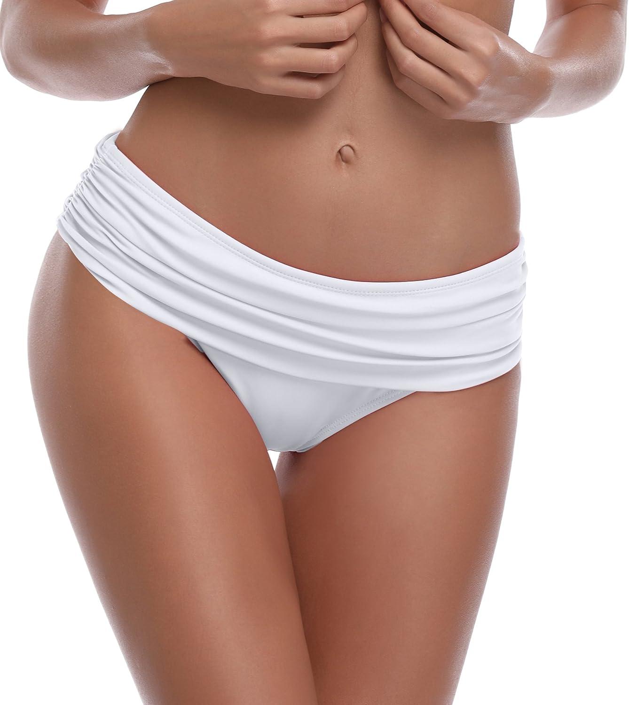 SHEKINI Bas de Bikini Femme Slip de Bain Pleated Fold Culotte Bikini de la Femme Mid Waisted Triangle Maillots de Bain Classique Ruch/é Panty Bikini Bottom