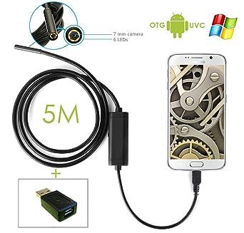 Endoscopio impermeable Inspección de drenaje bloqueado cámara espía 5 m para Android/Windows PC