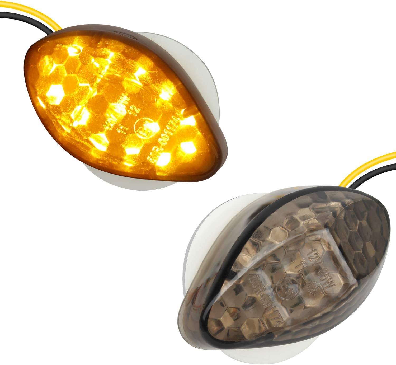 NTHREEAUTO 2Pcs Amber Flush Mount LED Turn Signal Lights Compatible with Honda CBR600RR CBR1000RR CBR 600 F4 CBR900 CBR919 CBR929 CBR 600 F4i- Universal 12V Motorcycle Indicators