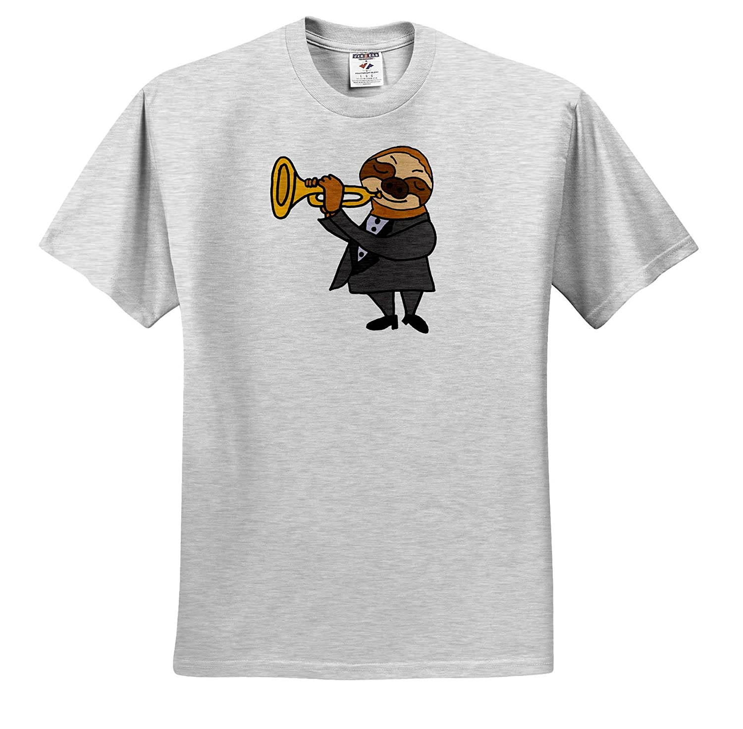 Adult T-Shirt XL Music 3dRose All Smiles Art Funny Cute Sloth Playing Trumpet Cartoon ts/_309629