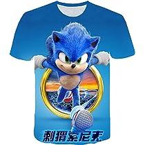 Sonic The Hedgehog Camiseta Los ni/ños de Cuello Redondo de Manga Larga Tops impresi/ón de la Historieta Sudadera c/ómoda de algod/ón Puro Camisetas ni/ños y ni/ñas
