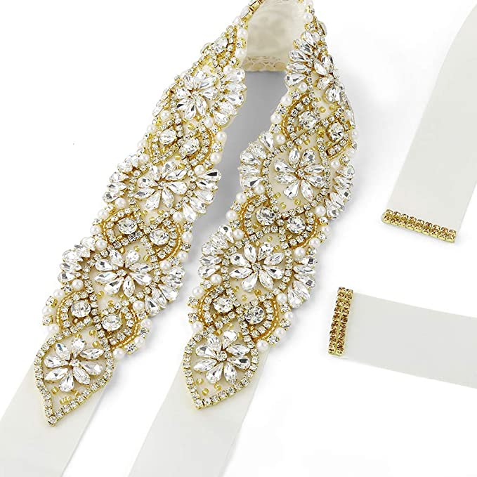 Soardream Light Ivory Bridal Sash Gold Crystals Wedding Belt