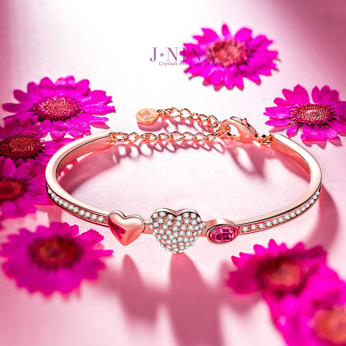 Amazon.com: J.NINA Sweet Lady Heart Bangle with Crystals from Swarovski,  Rose-Gold Plated Bracelet for Women On Anniversary Birthday Valentines Day:  Jewelry