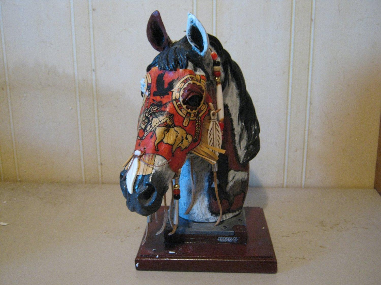Chief Spirit Horse 13 Inch Hand Decorated Statue with Genuine Buckskin Mask # HSCS