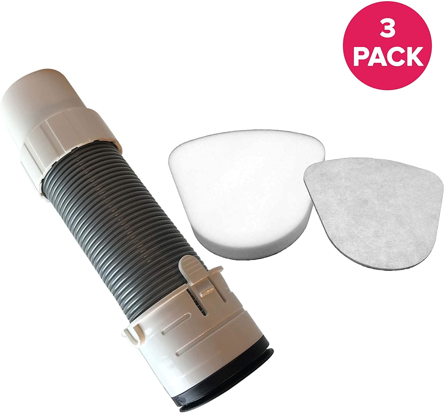 Think Crucial Replacement for Shark NV350 Floor Nozzle Hose, Foam & Felt Filters, Compatible with Part # XHF350 & 193FFJ