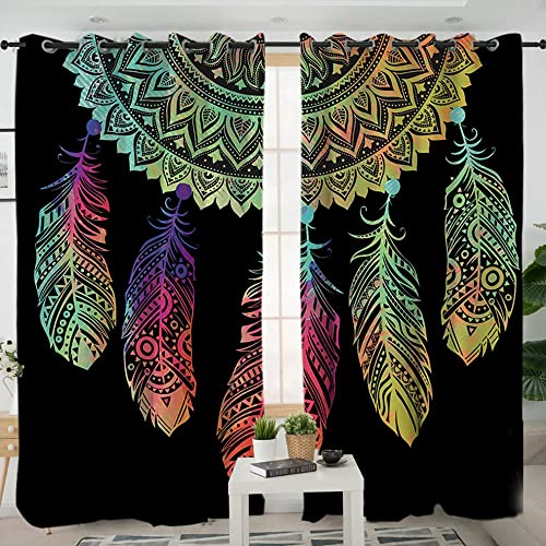 Sleepwish Dream Catcher Window Curtains Bohemian Curtain Panels Window Treatments Room Darkening Blackout Drapes for Living Room 2 Panels, 52×96 Inch, Rod Pocket