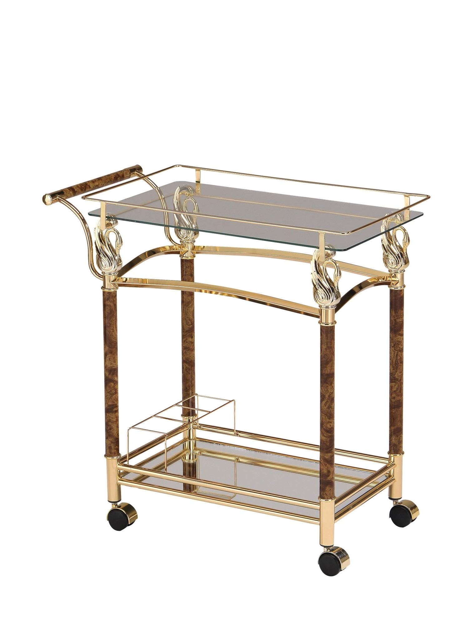 Major-Q 31'' H Modern Style 5mm Clear Tempered Glass Top Gold Plated Metal Frame Kitchen Island Wine Serving Cart with Caster Wheels, 9098002