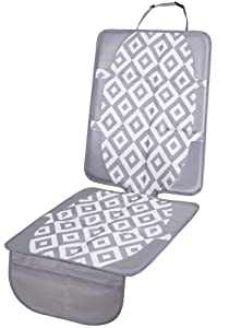 FORBY Car Seat Protector for Child Baby Car Seat Cover|Non-Slip Thickest Padding Largest Coverage Size for All Seats|Waterproof Durable Fabric PVC Reinforced Corners with 2 Large Storage Pockets