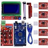 BIQU Mega2560 Control Board + LCD 12864 Graphic Smart Display Controller Module + Ramps 1.4 Mega Shield+A4988 Stepstick Stepper Motor Driver with Heat Sink for 3D Printer Arduino Reprap