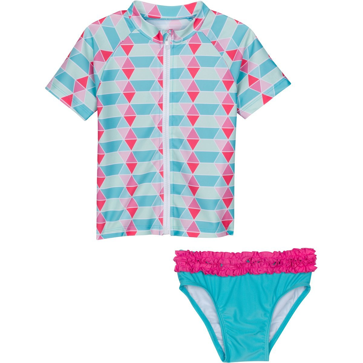 8d4d653c0 SwimZip Little Girl Zip Rash Guard Swimwear Set UPF 50+Pool Party  PoolParty01